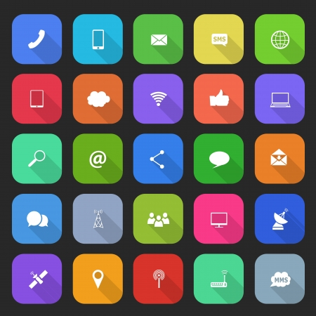 Trendy simple communication icons set in flat design with long shadows for web, mobile applications, social networks etc.