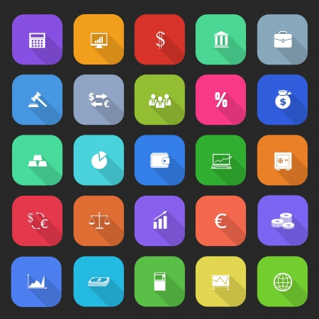 Trendy simple finance icons set in flat design with long shadows for web, mobile applications, social networks etc. Vector