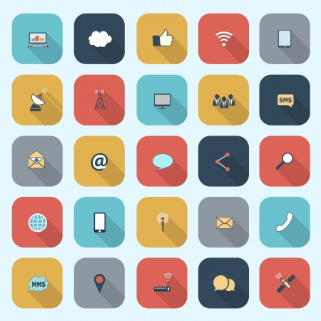 Trendy simple communication icons set in flat design with long shadows for web, mobile applications, social networks etc. Vector