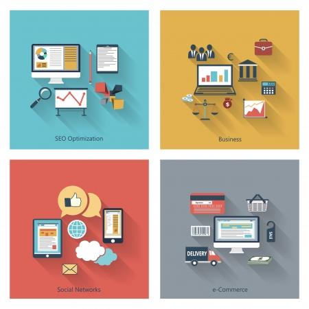 상업: 등 웹, 모바일 애플리케이션, 검색 엔진 최적화 최적화, 비즈니스, 소셜 네트워크, 전자 상거래를위한 긴 그림자와 함께 평면 디자인에서 설정 최신 유행 아이콘 일러스트