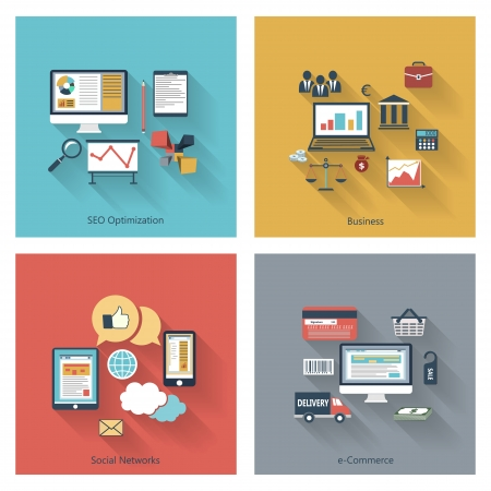 web development: Trendy icons set in flat design with long shadows for web, mobile applications, seo optimizations, business, social networks, e-commerce etc. Illustration