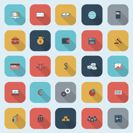 Trendy simple finance icons set in flat design with long shadows for web, mobile applications, social networks etc. Vector eps10 illustration Vector