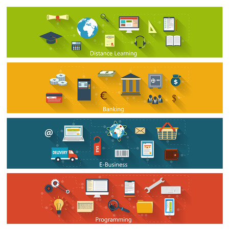 Set van moderne concepten in vlakke bouwvorm met lange schaduwen en trendy kleuren voor e-business, web, mobiele toepassingen, leren op afstand, het bankwezen, het programmeren etc. Vector eps10