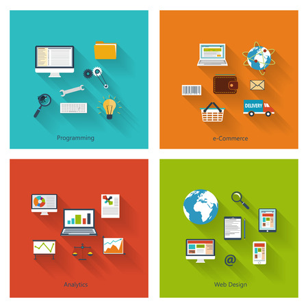 Collection of modern concept icons in flat design with long shadows and trendy colors for web, mobile applications, e-commerce, programming, analytics, reporting etc. Vector eps10 illustration Illustration
