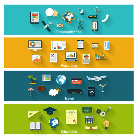 Collection of modern concept icons in flat design with long shadows and trendy colors for web, mobile applications, communication, travel, reportming, education etc. Vector eps10 illustration