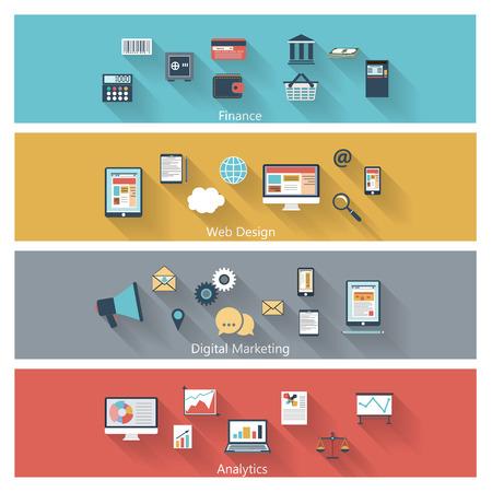 Set van moderne concepten in vlakke bouwvorm met lange schaduwen en trendy kleuren voor het web, mobiele toepassingen, digitale marketing, financiën, sociale netwerken, analytics etc. Vector eps10 Stock Illustratie