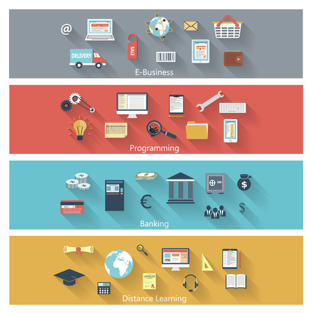 Set of modern concepts in flat design with long shadows and trendy colors for e-business, web, mobile applications, distance learning, banking, programming etc. Vector eps10 illustration Vector