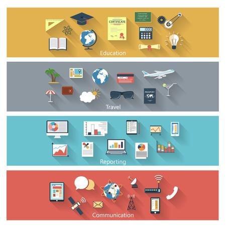 Collectie moderne begrip iconen in plat design met lange schaduwen en trendy kleuren voor het web, mobiele toepassingen, communicatie, reizen, reportming, onderwijs, enz. Vector eps10