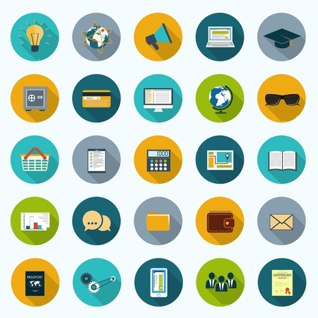 Set of modern icons in flat design with long shadows and trendy colors for web, mobile applications, business, social networks etc.   Vector