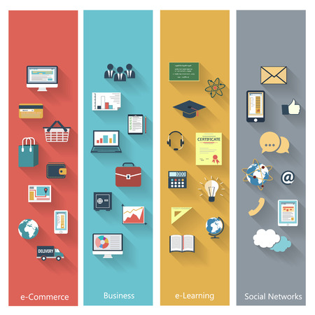 Set van moderne concepten in vlakke bouwvorm met lange schaduwen en trendy kleuren voor e-business, web, mobiele applicaties, e-learning, zakelijke, sociale media, enz.