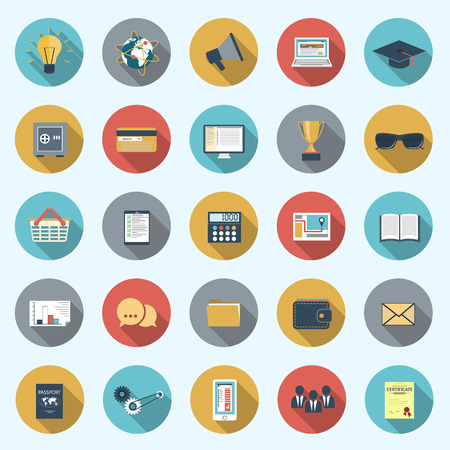 Set of modern icons in flat design with long shadows and trendy colors for web, mobile applications, business, social networks etc. Vector eps10 illustration Vector