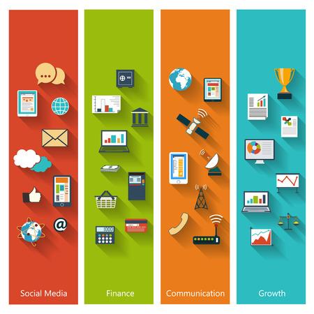 長い影と e ビジネス、銀行、web、モバイル アプリケーションのための流行の色とフラットなデザインでモダンなコンセプトのコレクション ソーシャ