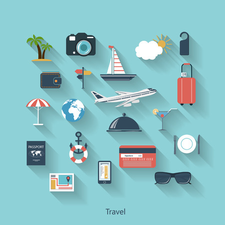 Travel and tourism modern concept in flat design with long shadows and trendy colors for web, mobile applications, layouts, brochure covers etc.    Vector