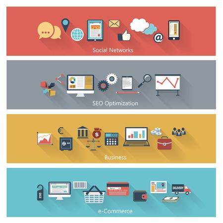 Set van moderne concepten in vlakke uitvoering met lange schaduwen en trendy kleuren voor het web, mobiele toepassingen, seo optimalisatie, zakelijke, sociale netwerken, e-commerce, etc. Vector eps10