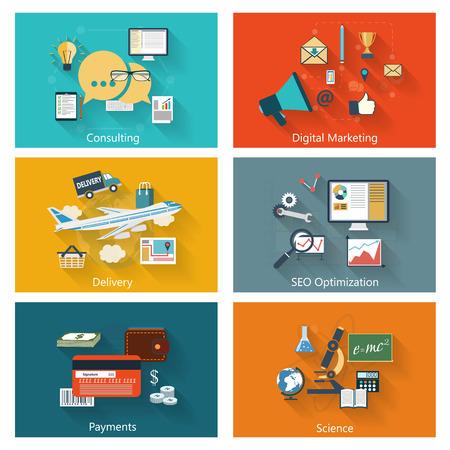 Moderne concept banners set in vlakke uitvoering met lange schaduwen en trendy kleuren voor e-business, websites, mobiele applicaties, logo, dekt etc. Vector eps10