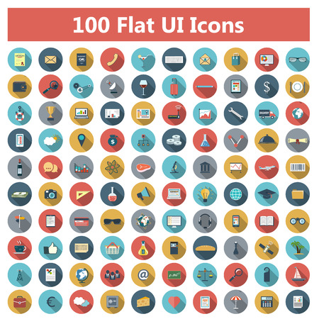 Set of modern icons in flat design with long shadows and trendy colors for web, banners, covers, corporate brochures, logos, mobile applications, business, social networks etc. Vector eps10 illustration