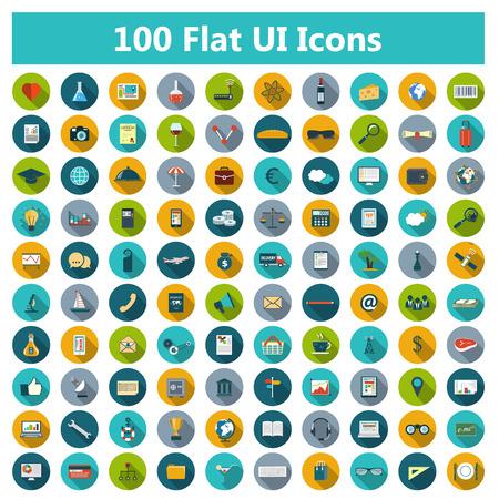 Set de iconos modernos de diseño plano con largas sombras y colores de moda para la web, banners, portadas, folletos corporativos, logotipos, aplicaciones móviles, negocios, redes sociales, etc Vector eps10 ilustración