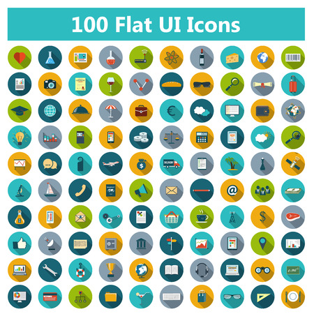 Set of modern icons in flat design with long shadows and trendy colors for web, banners, covers, corporate brochures, logos, mobile applications, business, social networks etc. Vector eps10 illustration Vector