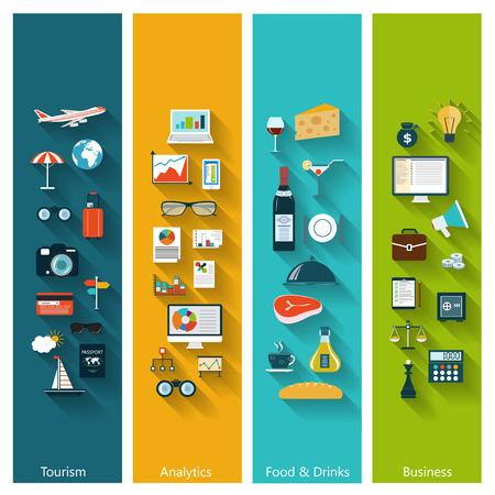 Set van moderne concept banners in vlakke uitvoering met lange schaduwen en trendy kleuren voor web, boekomslagen, corporate brochures, logo's, mobiele toepassingen, zakelijke, sociale netwerken etc. Vector eps10