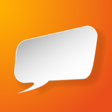speech bubble vector: Abstract paper speech bubble on orange background. Vector eps10 illustration