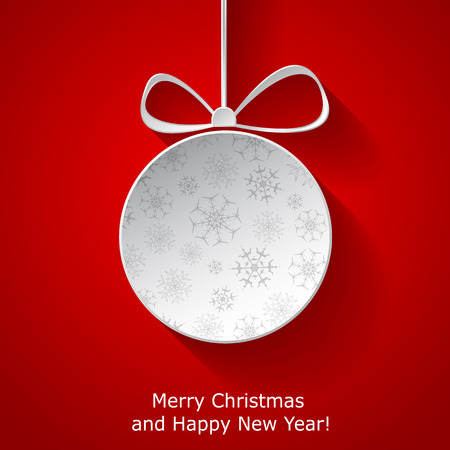 Xmas greeting card with abstract paper Christmas ball on red background. Vector eps10 illustration Vector