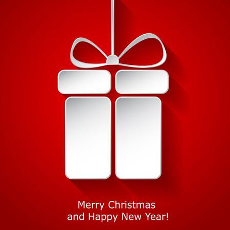 pr�sentieren: Moderne Weihnachtsgru�karte mit abstrakten Papier Weihnachten Geschenk-Box auf rotem Hintergrund. Trendy New Year Dekoration. Vektor-Illustration eps10