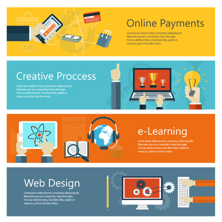 Modern concepts collection in flat design with trendy colors for e-business, web sites, mobile applications, distance learning, online payments, banners etc. Vector eps10 illustration Illustration
