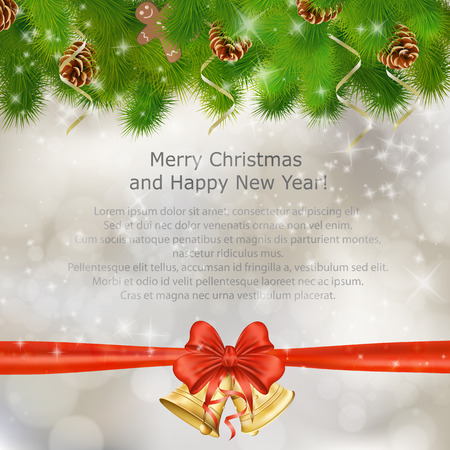 cristmas card: Xmas greeting card with fir branches and Christmas bells. Vector eps10 illustration