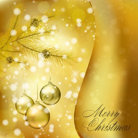 Golden Christmas balls on abstract gold background. Xmas greeting card. Vector eps10 illustration Vector