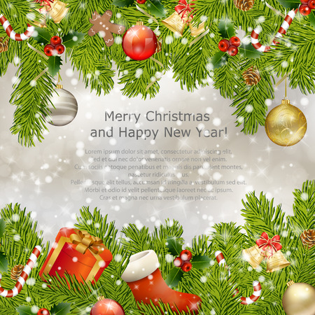 xmas: Xmas greeting card with fir branches and Christmas bells. Vector eps10 illustration