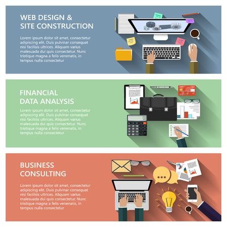 e 비즈니스 웹 사이트 구축 모바일 애플리케이션을위한 평면 설계에 현대적인 개념 컬렉션 일러스트