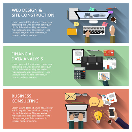 Modern concepts collection in flat design for ebusiness web site construction mobile applications