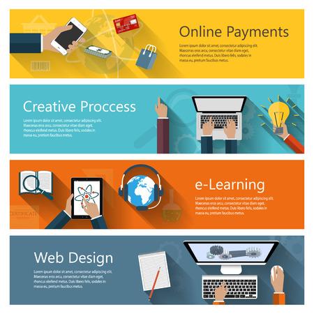 aprendizaje: Colección conceptos moderno en diseño plano para los sitios web de ebusiness aplicaciones móviles de educación a distancia en línea pagos banners etc. Vectores