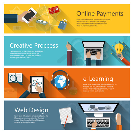 distance learning: Modern concepts collection in flat design for ebusiness web sites mobile applications distance learning online payments banners etc. Illustration