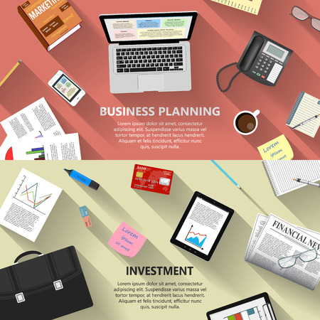 Modern flat design business planning and investment concept  for ebusiness web sites mobile applications banners corporate brochures book covers layouts etc.