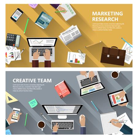 investigando: Investigación de mercados diseño plano y moderno concepto de equipo creativo