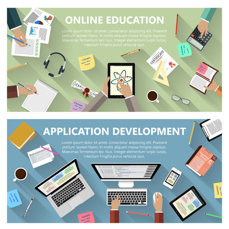 현대 평면 디자인 온라인 교육 및 응용 프로그램 개발 개념 일러스트