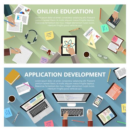 educação: Design plano instrução em linha moderno e conceito de desenvolvimento de aplicações