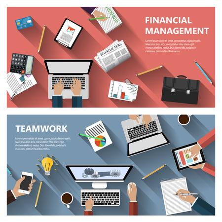 Moderne platte ontwerp financieel beheer en teamwork concept voor e zakelijke websites mobiele toepassingen banners corporate brochures boekomslagen layouts etc