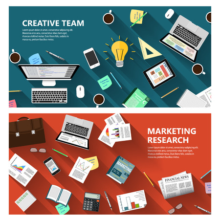 estrategia: Investigaci�n de mercados dise�o plano y moderno concepto de equipo creativo para los sitios web de negocios e aplicaciones m�viles Banderas de folletos corporativos libro abarca dise�os etc. Vectores
