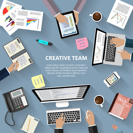ebusiness: Modern flat design creative team concept for ebusiness web sites mobile applications banners corporate brochures book covers layouts etc. Illustration