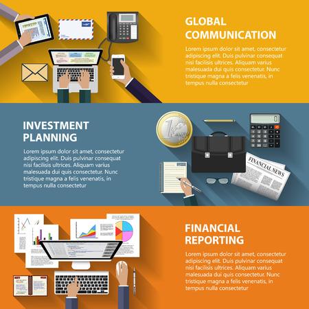 モダンなフラット デザイン通信投資と e ビジネスの web サイトのモバイル アプリケーション バナー企業パンフレット本の概念をカバーするレイアウ