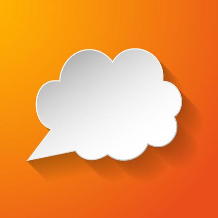 White paper speech bubble on orange background.  Ilustração