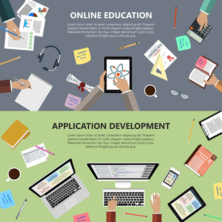 ebusiness: Modern flat design online education and app development concept  for ebusiness web sites mobile applications banners corporate brochures book covers layouts etc.