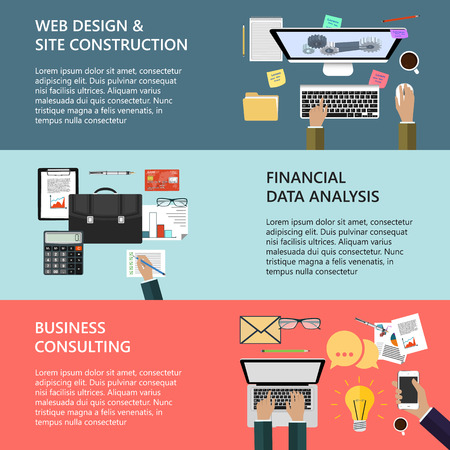 ebusiness: Modern concepts collection in flat design for ebusiness web site construction mobile applications banners corporate brochures book covers layouts etc.