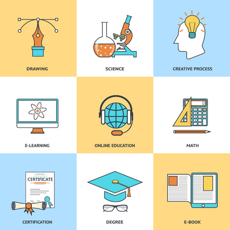 Modern education line icons set in flat design for web site development mobile applications banners corporate brochures book covers layouts etc. Vector eps10 illustration Vector