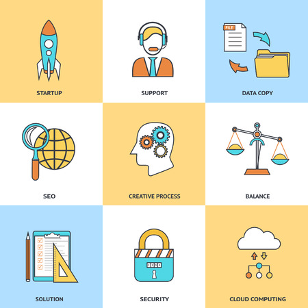 ebusiness: Modern line icons set in flat design for social media ebusiness web site development mobile applications banners corporate brochures book covers layouts etc.  Illustration