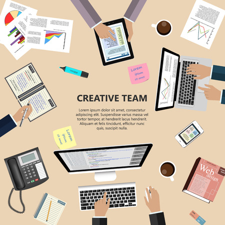 global market: Modern flat design creative team concept for ebusiness web sites mobile applications banners corporate brochures book covers layouts etc.