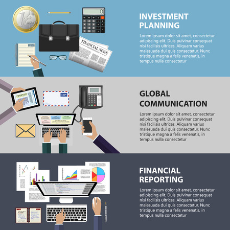 ebusiness: Modern flat design communication investment and reporting concept for ebusiness web sites mobile applications banners corporate brochures book covers layouts etc.  Illustration