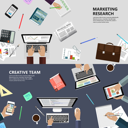optimization: Modern flat design marketing research and creative team concept  for ebusiness web sites mobile applications banners corporate brochures book covers layouts etc.  Illustration
